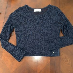 Abercrombie and Fitch blue lace crop top